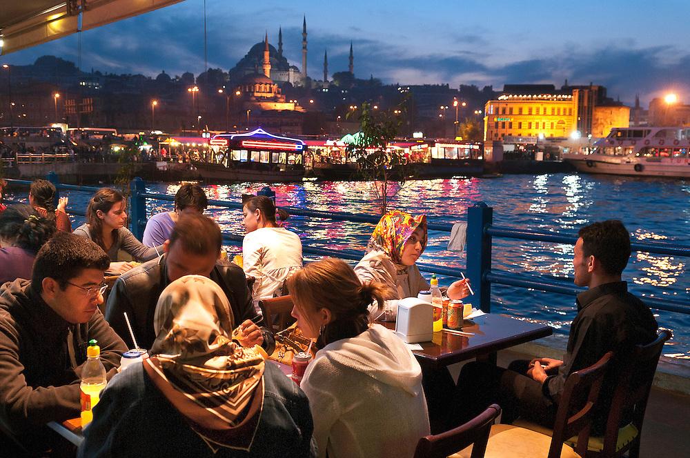 Restaurant Gala Balik Evi, Galata Bridge.<br /> Istanbul, Turkey.