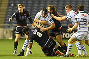 George Earle under pressure during the Guinness Pro 14 2018_19 match between Edinburgh Rugby and Cardiff Blues at Murrayfield Stadium, Edinburgh, Scotland on 23 February 2019.