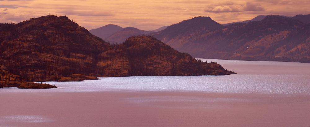 Soft light on mountains and Okanagan Lake, British Columbia