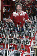 Tracy Bratvold with a passel of Rolls Royce Griffon engines that would be used to power the Miss Budweiser. Today he is the turbine master living in Montana and serving both the unlimited hydros as well as the aircraft industry.