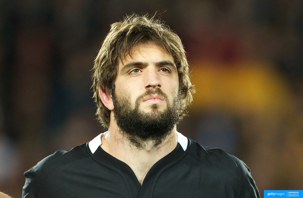 Sam Whitelock, New Zealand, during the national anthems before the New Zealand V Australia Semi Final match at the IRB Rugby World Cup tournament, Eden Park, Auckland, New Zealand, 16th October 2011. Photo Tim Clayton...