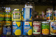 Canned goods fill the walls at the Milpitas Food Pantry in Milpitas, California, on November 25, 2014. Most donations are received between Thanksgiving and Christmas but must last the entire year for beneficiaries. (Stan Olszewski/SOSKIphoto)