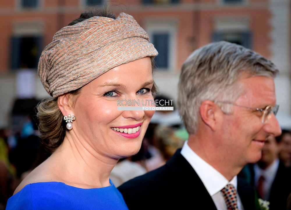 ROME - 5-7-2014 - King Filip (Philippe) and Queen Mathilde.<br /> Prins Gabriel, Prins Emmanuel and Prinses Eleonore . Wedding Royal marriage of Belgium Prince Amedeo and Lili (Elisabetta) Rosboch von Wolkenstein at the Basilica di Santa Maria in Trastevere in Rome, Italy.  COPYRIGHT ROBIN UTRECHT