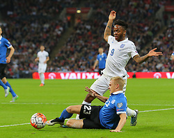 Raheem Sterling of England is challenged by Taijo Teniste of Estonia - Mandatory byline: Paul Terry/JMP - 07966 386802 - 09/10/2015 - FOOTBALL - Wembley Stadium - London, England - England v Estonia - European Championship Qualifying - Group E