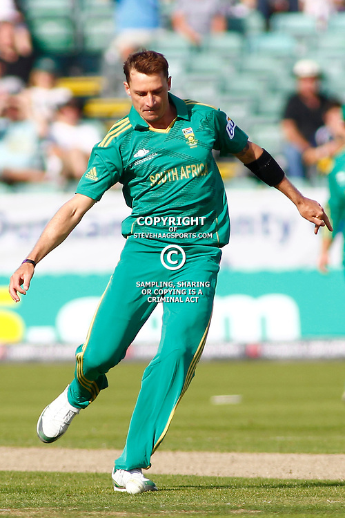 08/09/2012 Durham, England. Dale Steyn kicks the ball during the 1st Nat West t20 cricket match between  England and South Africa and played at Emirate Riverside Cricket Ground: Mandatory credit: Mitchell Gunn