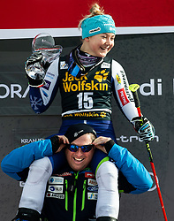 3rd placed HROVAT Meta of Slovenia and Mitja Kunc, coach celebrate at Trophy ceremony after the 2nd Run during the Ladies' GiantSlalom at 56th Golden Fox event at Audi FIS Ski World Cup 2019/20, on February 15, 2020 in Podkoren, Kranjska Gora, Slovenia. Photo by Matic Ritonja / Sportida