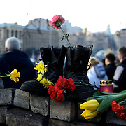 KIEV, UKRAINE - February 24, 2014: Thousands descend on Kiev's Independence Square to pay respect for the anti-government protestors killed days before, during clashes with the riot police. CREDIT: Paulo Nunes dos Santos