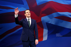 © Licensed to London News Pictures. 05/10/2015. Manchester, UK. Chancellor of Exchequer George Osborne speaking at Conservative Party Conference at Manchester Central in Manchester on Monday, 5 October 2015. Photo credit: Tolga Akmen/LNP
