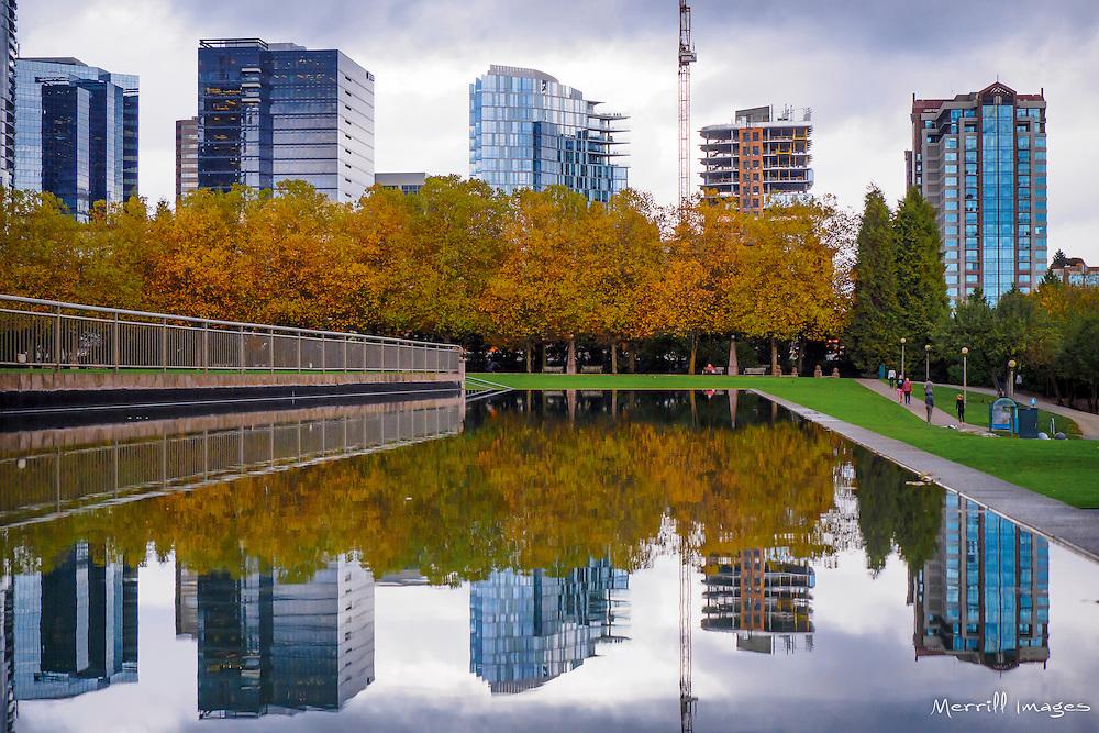 USA, Washington, Bellevue. Skyline from Downtown Park in Autumn.