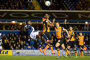 Birmingham City striker Clayton Donaldson lines up an overhead kick 1-0 during the Sky Bet Championship match between Birmingham City and Hull City at St Andrews, Birmingham, England on 3 March 2016. Photo by Alan Franklin.