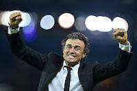 FUSSBALL  CHAMPIONS LEAGUE  FINALE  SAISON 2014/2015  06.06.2015 Juventus Turin - FC Barcelona JUBEL CHL Sieger 2015  FC Barcelona: Trainer Luis Enrique (Mitte)