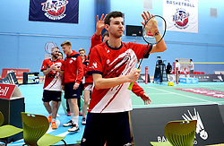 Chris Coles (Capt) of Bristol Jets leads his team to as they applaud the fans after the win over Surrey Smashers - Photo mandatory by-line: Robbie Stephenson/JMP - 06/02/2017 - BADMINTON - SGS Wise Arena - Bristol, England - Bristol Jets v Surrey Smashers - AJ Bell National Badminton League