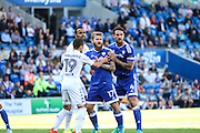 Pablo Hernandez Dominguez of Leeds United Aron Gunnarsson of Cardiff City and Sean Morrison of Cardiff City during the EFL Sky Bet Championship match between Cardiff City and Leeds United at the Cardiff City Stadium, Cardiff, Wales on 17 September 2016. Photo by Andrew Lewis.