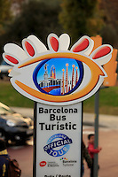 The instantly recognisable sign of the Barcelona Tourist bus stop in Barcelona, Spain.