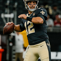 Aug 17, 2018; New Orleans, LA, USA; New Orleans Saints quarterback Tom Savage (12) before a preseason game against the Arizona Cardinals at the Mercedes-Benz Superdome. Mandatory Credit: Derick E. Hingle-USA TODAY Sports