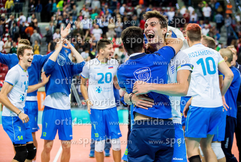 Klemen Cebulj #18 of Slovenia celebrates after winning during volleyball match between National teams of Slovenia and Italy in 1st Semifinal of 2015 CEV Volleyball European Championship - Men, on October 17, 2015 in Arena Armeec, Sofia, Bulgaria. Photo by Vid Ponikvar / Sportida
