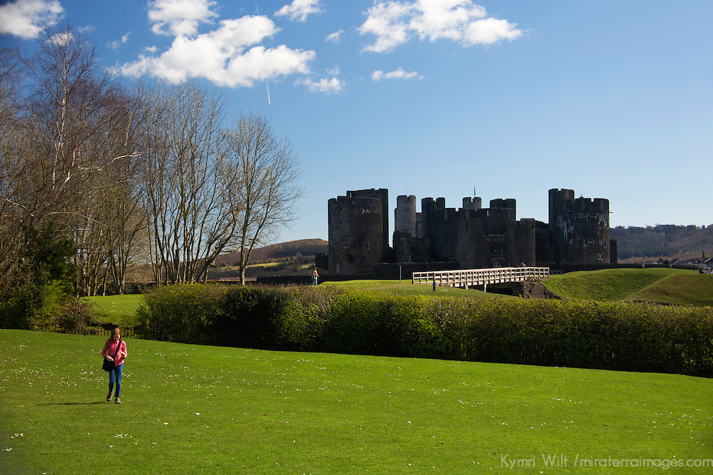 Europe, United Kingdom, Wales, Caerphilly. Young girl at Caerphilly Castle, the largest in Wales.