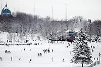 snow fun mount royal sledding