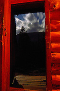 Looking out the door of Silvertip Cabin at night during a full moon. from my 2013 Artist-in-Wilderness Connection program residency run by the Flathead National Forest, Hockaday Museum of Art, Bob Marshall Wilderness Foundation and the Swan Ecosystem Center. Flathead National Forest, northwest Montana.