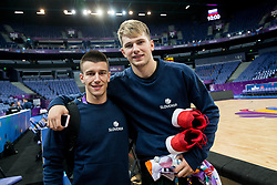 Matic Rebec of Slovenia and Luka Doncic of Slovenia at training session during of the FIBA EuroBasket 2017 at Hartwall Arena in Helsinki, Finland on September 4, 2017. Photo by Vid Ponikvar / Sportida