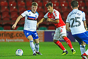 Andy Cannon wins the ball during the EFL Trophy match between Fleetwood Town and Rochdale at the Highbury Stadium, Fleetwood, England on 9 October 2018.