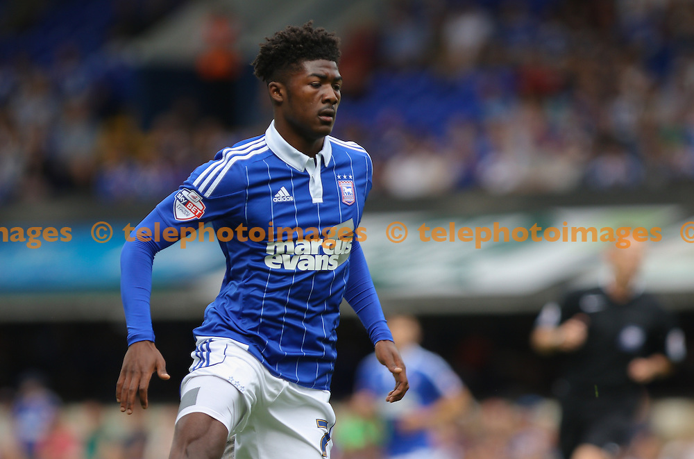 Ainsley Maitland-Niles of Ipswich Town on the ball during the Sky Bet Championship match between Ipswich Town and Brighton and Hove Albion at Portman Road in Ipswich. August 29, 2015.<br /> Arron Gent / Telephoto Images<br /> +44 7967 642437