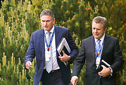 Ross McEwan, Chief Executive, RBS (left) with Les Matheson, Chief Executive, Personal & Business Banking, RBS arrive at AGM at Gogarburn, Edinburgh. Pic copyright Terry Murden @edinburghelitemedia
