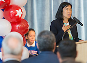 Incoming Houston ISD Trustee Anne Sung comments during a dedication ceremony at Mark White Elementary School, December 13, 2016.