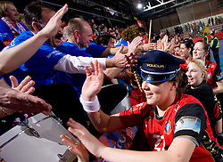 Fans of Krim and Cvijic Dragana of Krim celebrate after the 2nd Round of Group 1 at Women Champions League handball match between RK Krim Mercator, Ljubljana and HC Leipzig, Germany on February 13, 2010 in Arena Kodeljevo, Ljubljana, Slovenia. Krim defeated  Leipzig 32-26. (Photo by Vid Ponikvar / Sportida)