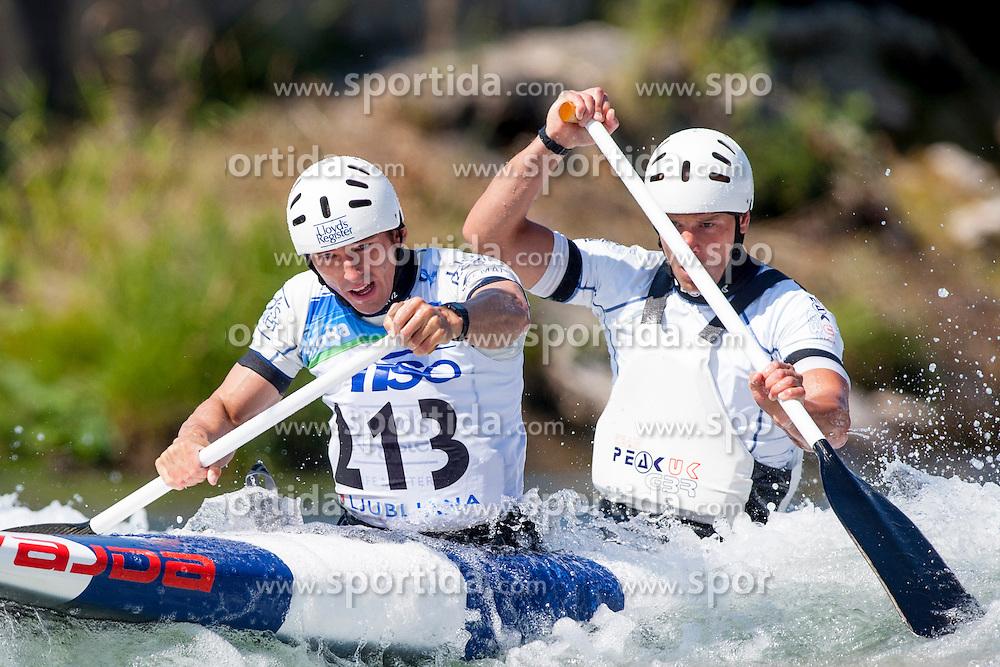 David Florence and Richard Hounslow of Great Britan during Canoe (C2) Man semi-final race at ICF Canoe Slalom World Cup Sloka 2013, on August 18, 2013, in Tacen, Ljubljana, Slovenia. (Photo by Urban Urbanc / Sportida.com)