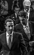 WASHINGTON, DC (April 10, 2018) -- Facebook founder and Chief Executive Officer Mark Zuckerberg walks with Joel Kaplan, Facebook's VP of public policy and Collin Stretch, vice-president and general counsel for Facebook,  as he prepares to testify before the U.S. Senate on hearings lead by reports that Cambridge Analytica, a British political consulting firm linked to the Trump campaign, harvested data from 87 million Facebook users.  Photo by Johnny Bivera