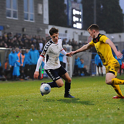 TELFORD COPYRIGHT MIKE SHERIDAN 19/1/2019 - Ryan Barnett of AFC Telford (on loan from Shrewsbury Town Football Club)  during the Vanarama Conference North fixture betwen AFC Telford United and Kidderminster Harriers