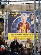 """Vienna, Austria. Dome Priest Anton Faber explains the """"Walk am Dom"""", which is the highlight of St. Stephen's fair (Steffl-Kirtag) at the beginning of the """"Long Night of Churches"""" (Lange Nacht der Kirchen..Slackliner Christian Waldner crosses between St. Stephen's South Tower """"Steffl"""" to the Heidenturm and back - on a one inch wide slack line in a height of 60 meters.."""