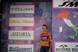 Megan Guarnier (USA) of Boels-Dolmans Cycling Team walks on the podium after Stage 10 of the Giro Rosa - a 124 km road race, starting and finishing in Torre Del Greco on July 9, 2017, in Naples, Italy. (Photo by Balint Hamvas/Velofocus.com)