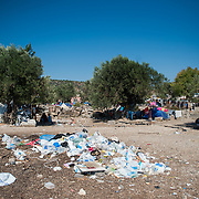 rubbish in Kara Tepe camp.