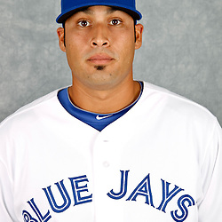 March 2, 2012; Dunedin, FL, USA; Toronto Blue Jays relief pitcher Sergio Santos (21) poses for a portrait during photo day at Florida Auto Exchange Stadium.  Mandatory Credit: Derick E. Hingle-US PRESSWIRE