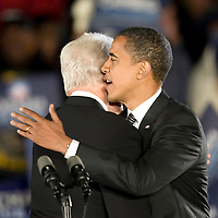 Barack Obama and President Bill Clinton campaign in Kissimmee, Florida just days before the Presidential Election..This was the same evening that Obama aired his 30 minute program on all of the major networks. The rally was held at midnight and attracted over 35,000 voters.