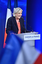 French presidential election candidate for Front National (FN) far-right party Marine Le Pen makes a statement after the second round of the French presidential election, at Chalet du Lac in Vincennes, near Paris, France on May 7, 2017. Le Pen has been defeated by Emmanuel Macron by a margin of more than 65% to 34%. Photo by Aurore Marechal/ABACAPRESS.COM
