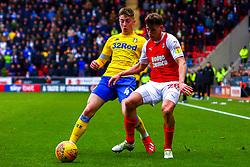 Jack Clarke of Leeds United gets the ball away from Billy Jones of Rotherham United - Mandatory by-line: Ryan Crockett/JMP - 26/01/2019 - FOOTBALL - Aesseal New York Stadium - Rotherham, England - Rotherham United v Leeds United - Sky Bet Championship