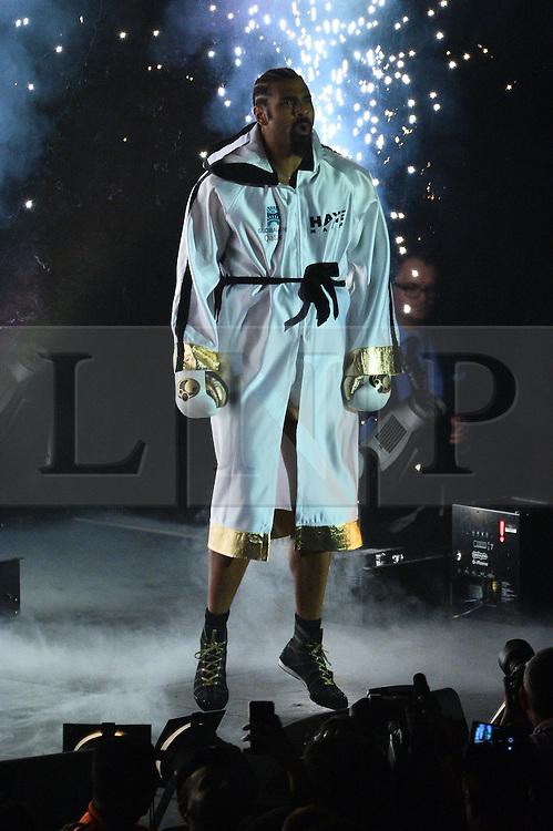 © Licensed to London News Pictures. 21/05/2016. British heavyweight boxer David Haye makes his comeback against Kosovo-Albanian Arnold Gjergjaj at the O2 arena. London, UK. Photo credit: Ray Tang/LNP