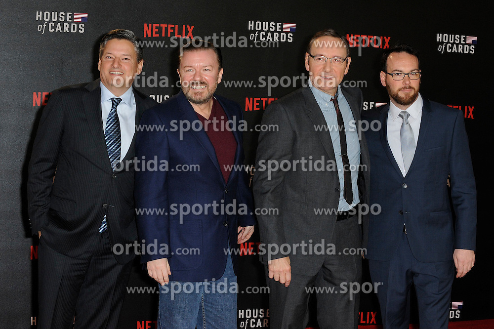 Ricky Gervais, Kevin Spacey and guests attends the World Premiere of 'House of Cards' Season 3 at The Empire Cinema on February 26, 2015 in London, England. EXPA Pictures &copy; 2015, PhotoCredit: EXPA/ Photoshot/ Euan Cherry<br /> <br /> *****ATTENTION - for AUT, SLO, CRO, SRB, BIH, MAZ only*****