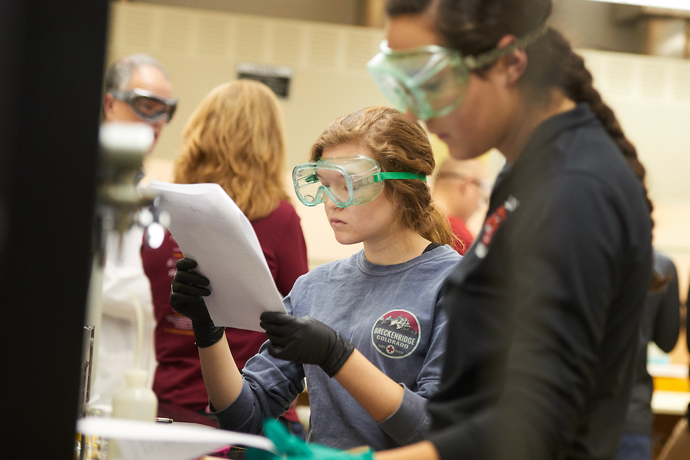Activity; Lab; Buildings; Cowley; Location; Inside; Classroom; Type of Photography; Candid; UWL UW-L UW-La Crosse University of Wisconsin-La Crosse; West Salem High School Students Dual Credit Program Chemistry