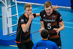 26-10-2019 NED: Talentteam Papendal - Draisma Dynamo, Ede<br /> Round 4 of Eredivisie volleyball - Martijn Brilhuis #5 of Talent Team