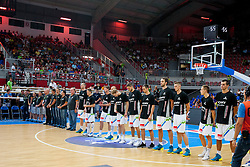 Slovenian players during friendly match between National teams of Slovenia and Bosnia and Herzegovina for Eurobasket 2013 on August 16, 2013 in Podmezakla, Jesenice, Slovenia. (Photo by Urban Urbanc / Sportida.com)