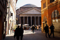 The Pantheon as viewed from Via del Pantheon. Perhaps the best preserved building of its age in the world, the current building dates to about 125 AD. It was originally built as a temple in the state religion of ancient Rome.