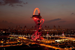 © Licensed to London News Pictures. 01/05/2012. Stratford, East London, UK. Mittal Orbit Lit up on Olympic Park. Photo credit : Andrew Baker/LNP