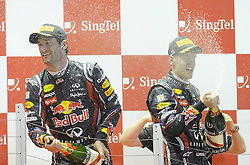 25.09.2011, Marina-Bay-Street-Circuit, Singapur, SIN, F1, Grosser Preis von Singapur, Singapur, im Bild Podium -  Sebastian Vettel (GER), Red Bull Racing - Mark Webber (AUS), Red Bull Racing// during the Formula One Championships 2011 Large price of Singapore held at the Marina-Bay-Street-Circuit Singapur, 2011-09-24  EXPA Pictures © 2011, PhotoCredit: EXPA/ nph/  Dieter Mathis       ****** out of GER / CRO  / BEL ******