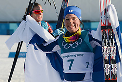 February 25, 2018 - Pyeongchang, South Korea - KRISTA PARMAKOSKI of Finland celebrates following  the Ladies' 30km Mass Start Classic cross-country ski racing event in the PyeongChang Olympic Games. (Credit Image: © Christopher Levy via ZUMA Wire)