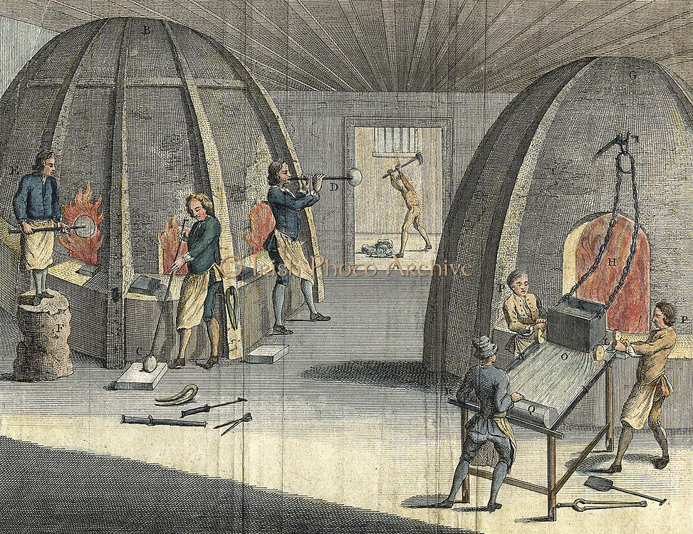 Manufacture of crown glass by blowing (left) and plate glass by casting (right). From 'The Universal Magazine' London 1760.  Glass workers were susceptible to cataract caused by glare of the furnace. Hand-coloured engraving.