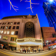 AMC Midland Theater at dusk, downtown Kansas City Missouri.